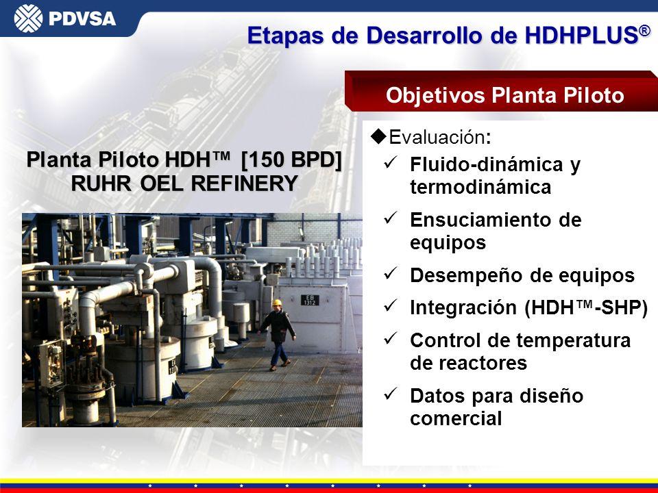 Objetivos Planta Piloto Planta Piloto HDH™ [150 BPD]